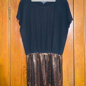 Black sheer and gold sequins dress